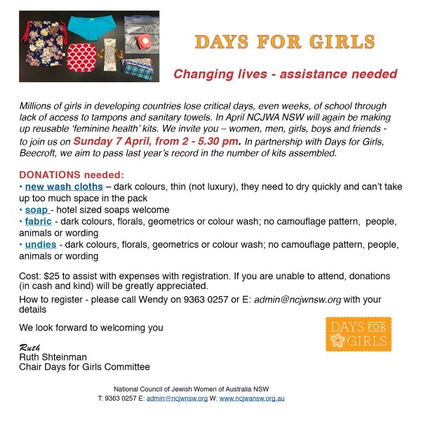 Days For Girls Assistance needed